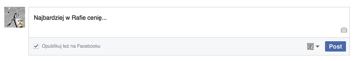 """Zaznacz opcjê """"Opublikuj te¿na Facebooku"""""""